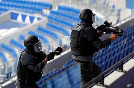 Members of Research and Intervention Brigades (BRI) attend a training exercise in case of terrorist attack at the G6 Interior Ministers' meeting at the Groupama stadium in Decines, near Lyon, central France, Oct. 9, 2018.