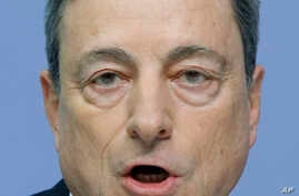 FILE - The President of the European Central Bank Mario Draghi speaks during a news conference in Frankfurt, Germany, Jan. 21, 2016.