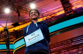 Karthik Nemmani, 14, from McKinney, Texas, smiles as he wins the Scripps National Spelling Bee in Oxon Hill, Md., May 31, 2018.