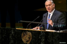 Israel's Prime Minister Benjamin Netanyahu addresses the 69th United Nations General Assembly at the U.N. headquarters in New York, Sept. 29, 2014.