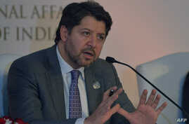 Afghan Deputy Foreign Minister Hekmat Khalil Karzai speaks during a press conference at the Heart of Asia Ministerial Conference in Amritsar, Dec. 4, 2016.