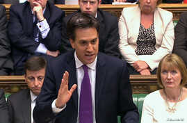 Britain's opposition Labor leader Ed Miliband is seen addressing the House of Commons in this still image taken from video in London August 29, 2013.