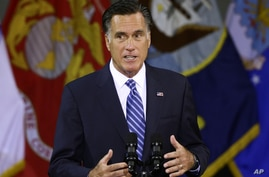 Republican presidential candidate, former Massachusetts Gov. Mitt Romney delivers a foreign policy speech at Virginia Military Institute (VMI) in Lexington, Va., Oct. 8, 2012.