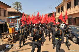 Shi'ite Muslims take part in a rally to commemorate Ashura in Kano, Nigeria October 24, 2015. On Monday, November 14, 2016, deadly clashes occurred near Kano as the Islamic Movement in Nigeria conducted an annual procession to Zaria.