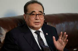 North Korea's Foreign Minister Ri Su Yong answers questions during an interview on April 23, 2016, in New York.