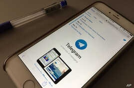 The messaging app Telegram is displayed on a smartphone, July 15, 2017, in Bangkok, Thailand.