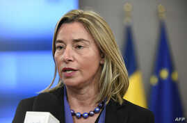 High Representative of the European Union for Foreign Affairs and Security Policy Federica Mogherini speaks to journalists during a Foreign Affairs Council at the EU headquarters in Brussels, Belgium, Feb. 18, 2019.