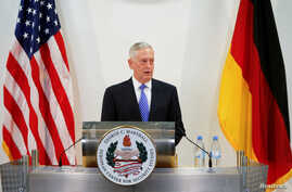 U.S. Defence Minister James N. Mattis talks at a press conference before the commemoration of the 70th anniversary of the Marshall Plan at the George C. Marshall Center in Garmisch-Partenkirchen, Germany, June 28, 2017.