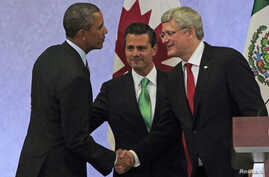 U.S. President Barack Obama (L) shakes hands with Canada's Prime Minister Stephen Harper (R) as Mexico's President Enrique Pena Nieto looks on after attending a news conference, at the North American Leaders' Summit in Toluca near Mexico City, Feb. 1