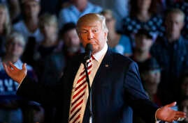 Republican presidential candidate Donald Trump speaks at a campaign rally, Oct. 18, 2016.