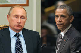 Russian President Vladimir Putin, left, and U.S. President Barack Obama will meet in New York on the sidelines of the United Nations General Assembly, Sept. 28, 2015.