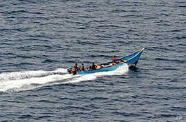 Picture released by the German Bundeswehr shows a pirates' boat in the Gulf of Aden off Somalia (March 2009 File)