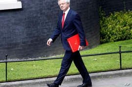 David Davis, secretary of State for Exiting the European Union, arrives for a cabinet meeting at 10 Downing Street after the general election in London, June 12, 2017.