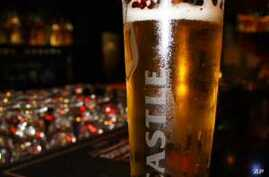 One of South Africa's most popular beers, Castle, ready to be served