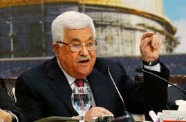 Palestinian President Mahmoud Abbas speaks during a meeting of the Palestinian National Council at his headquarters in the West Bank city of Ramallah, April 30, 2018.