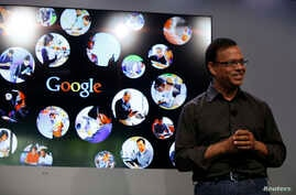 Amit Singhal, senior vice president of search at Google, speaks at the garage where the company was founded on Google's 15th anniversary in Menlo Park, California Sep. 26, 2013.