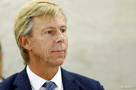 FILE - Anders Kompass, a well-known human rights defender and Sweden's ambassador to Guatemala, is pictured during a session of the Human Rights Council in Geneva, Switzerland, Nov. 12, 2015