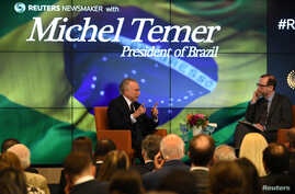 President of Brazil, Michel Temer, speaks with Reuters Editor-in-Chief Steve Adler about the future of Latin America's largest economy as it emerges from recession and a large-scale corruption scandal at a Reuters Newsmaker event in New York City, Se