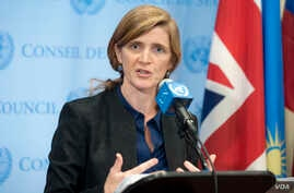 U.S. Ambassador to the United Nations, Samantha Power, briefs journalists in New York on Sept. 30, 2014.