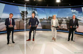 Moderate Party leader Ulf Kristersson, Green Party spokesperson Gustav Fridolin, Christian Democrats party leader Ebba Busch Thor and Sweden's Prime Minister and Social Democrat party leader Stefan Lofven during a TV debate in Stockholm, Sweden, Sept