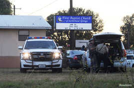 First responders are at the scene of shooting at the First Baptist Church in Sutherland Springs, Texas, Nov. 5, 2017.