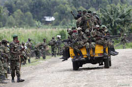 M23 rebel fighters sit on a truck as they prepare to withdraw near the town of Sake, 42 kilometers west of Goma in eastern Congo, November 30, 2012.