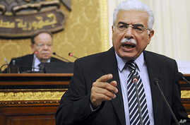 Then Egyptian Prime Minister Ahmed Nazif speaks during a parliament session in Cairo last year (file photo)