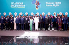 Heads of state and government pose during a photo call before the official opening of the 27th African Union (AU) Summit in Kigali on July 17, 2016.