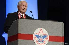 Former Defense Secretary Robert Gates addresses Boy Scouts of America's annual meeting after being selected as the organization's new president, in Nashville, Tenn., May 23, 2014.