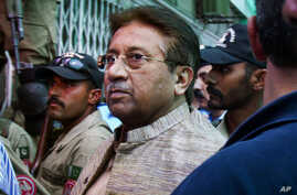 FILE - In this Saturday, April 20, 2013 file photo, Pakistan's former President and military ruler Pervez Musharraf arrives at an anti-terrorism court in Islamabad.