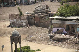 A view of damage including  mosque on parts of the historic district of the mainly Kurdish city of Diyarbakir, southeastern Turkey, May 22, 2016.