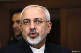 Iranian Foreign Minister Mohammad Javad Zarif talks with reporters in Geneva, Switzerland, Jan. 14, 2015.