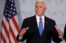 U.S. Vice President Mike Pence speaks during a news conference at the Summit of the Americas in Lima, Peru, April 14, 2018.