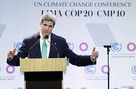U.S. Secretary of State John Kerry delivers a speech at the U.N. Climate Change Conference COP 20 in Lima, December 11, 2014.