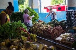 People buy local vegetables at a food shop in Havana, Cuba, Nov. 8, 2018. Entrepreneurs from the United States' agricultural sector have arrived in Cuba to promote business between the two countries.