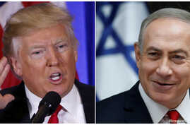 U.S. President-elect Donald Trump speaks during a news conference in the lobby of Trump Tower in Manhattan, New York City, U.S., Jan. 11, 2017 and Israeli Prime Minister Benjamin Netanyahu attends the weekly cabinet meeting in Jerusalem Jan. 22, 2017