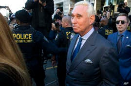 Former campaign adviser for President Donald Trump, Roger Stone, leaves federal court, Feb. 21, 2019, in Washington.