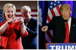 Democratic presidential candidate Hillary Clinton, left, won Nevada's Democratic caucuses, while Republican presidential candidate Donald Trump won South Carolina's Republican primary, Feb. 20, 2016.