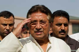 Pakistan's former President and head of the All Pakistan Muslim League (APML) political party Pervez Musharraf salutes as he arrives to unveil his party manifesto for the forthcoming general election at his residence in Islamabad, April 15, 2013.
