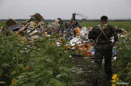 A pro-Russian separatist looks at wreckage from the nose section of a Malaysia Airlines Boeing 777 plane which was downed near the village of Rozsypne, in the Donetsk region July 18, 2014. World leaders demanded an international investigation into th