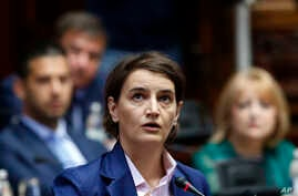 Serbia's Prime Minister-designate Ana Brnabic addresses the parliament in Belgrade, Serbia, June 28, 2017. Brnabic is expected to take office this week after a vote in parliament, which is considered a formality.