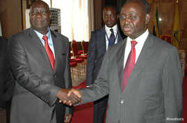 Michel Am-Nondokro Djotodia (L), leader of Central African Republic's (CAR) Seleka rebel alliance, shakes hands with CAR's President Francois Bozize (R) during peace talks with delegations representing the government and the opposition rebels in Libr