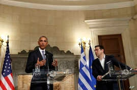 President Barack Obama and Greek Prime Minister Alexis Tsipras participate in a joint news conference at Maximos Mansion in Athens, Nov. 15, 2016.
