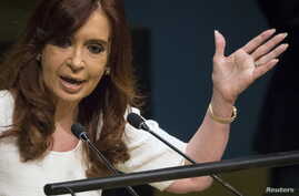 President of Argentina Cristina Fernandez de Kirchner addresses attendees during the 70th session of the United Nations General Assembly at the U.N. headquarters in New York, Sept. 28, 2015.