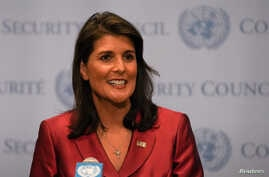 FILE - U.S. Ambassador to the United Nations Nikki Haley speaks during a news conference at U.N. headquarters in Manhattan, New York, Sept. 20, 2018.