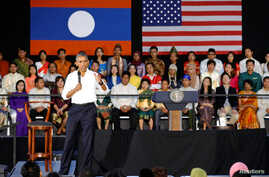 Participants listen as U.S. President Barack Obama holds a town hall-style meeting with a group of Young Southeast Asian Leaders Initiative (YSEALI) attendees, alongside his participation in the ASEAN Summit, at Souphanouvong University in Luang Prab