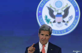 "U.S. Secretary of State John Kerry delivers opening remarks at the ""Our Ocean"" conference at the State Department in Washington, June 16, 2014."