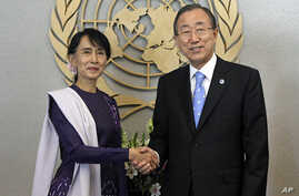 Aung San Suu Kyi with United Nations Secretary General Ban Ki-moon at the U.N, Sept. 21, 2012.