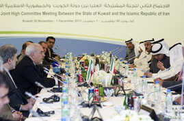 Iranian Foreign Minister Javad Zarif (4th L) attends a meeting for the 2nd Joint High Committee in Kuwait City, Kuwait, Dec. 1, 2013.