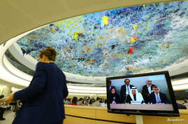 President of the Human Rights Commission of Saudi Arabia Bandar al Aiban attends the Universal Periodic Review of Saudi Arabia by the Human Rights Council at the United Nations in Geneva, Switzerland, November 5, 2018.